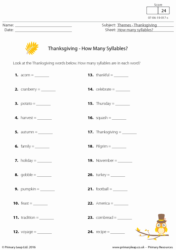 Syllable Worksheet for Kindergarten Fresh Thanksgiving Worksheet How Many Syllables