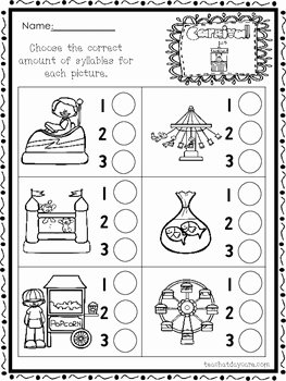 Syllable Worksheet for Kindergarten New 10 themed How Many Syllables Worksheets K 1st Grade
