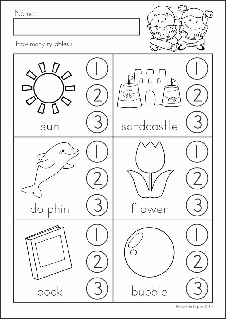 Syllable Worksheet for Kindergarten New Summer Review