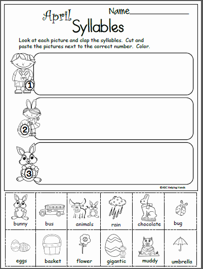 Syllable Worksheet for Kindergarten New Terrific Free April Syllables Worksheet Madebyteachers