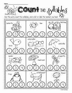Syllable Worksheet for Kindergarten Unique Syllable Worksheets Kindergarten Syllables Kindergarten