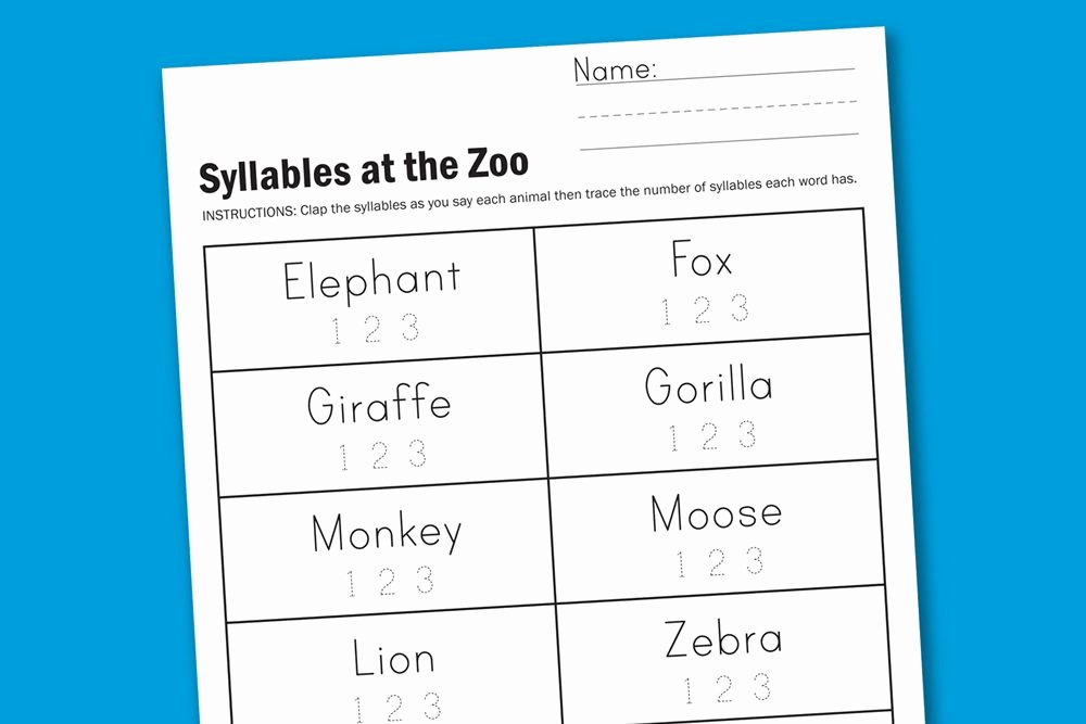 Syllables Worksheet for Kindergarten Awesome Syllables at the Zoo Preschool and Kindergarten Free