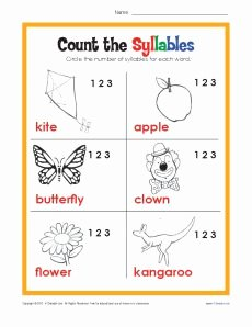Syllables Worksheet for Kindergarten Beautiful Count the Syllables