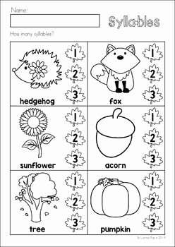 Syllables Worksheet for Kindergarten Best Of Autumn Fall Preschool No Prep Worksheets & Activities