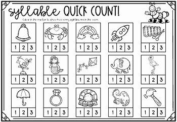 Syllables Worksheet for Kindergarten Best Of Syllable Worksheets Including Clap Count sort Match