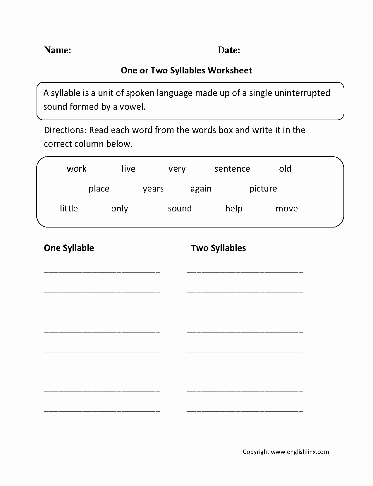 Syllables Worksheet for Kindergarten Fresh Englishlinx