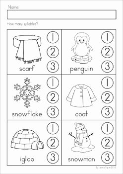 Syllables Worksheet for Kindergarten Fresh Winter Literacy Worksheets and Activities No Prep