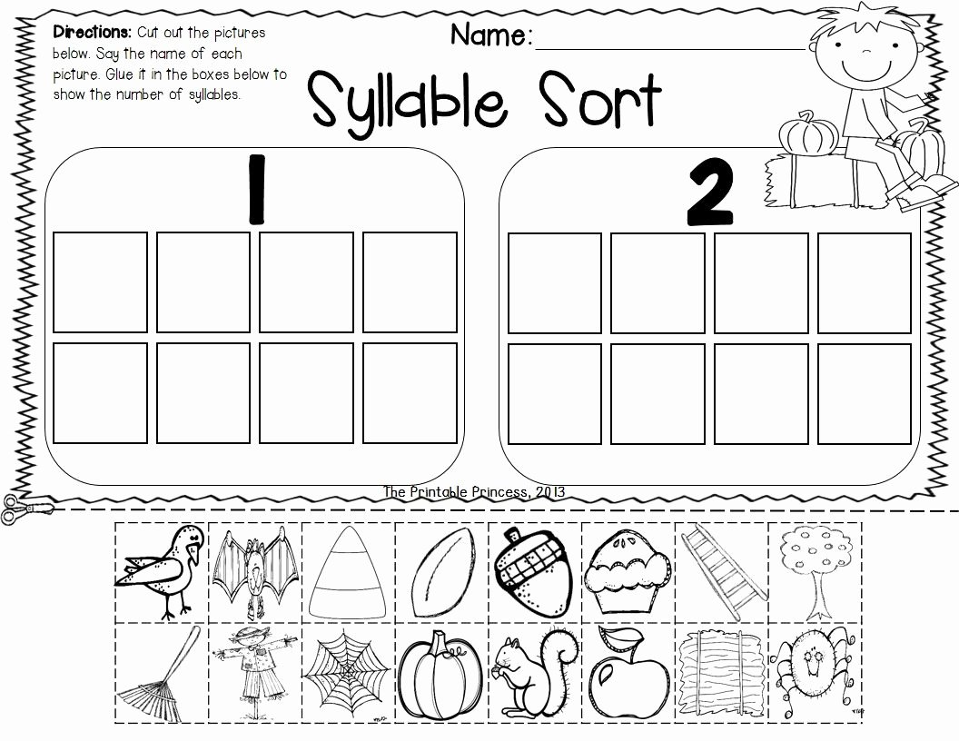 Syllables Worksheet for Kindergarten Inspirational Fall Activities for Kindergarten Math and Literacy