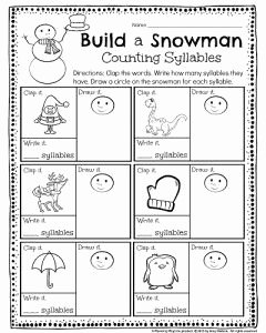 Syllables Worksheet for Kindergarten Inspirational Kindergarten Math and Literacy Worksheets for December
