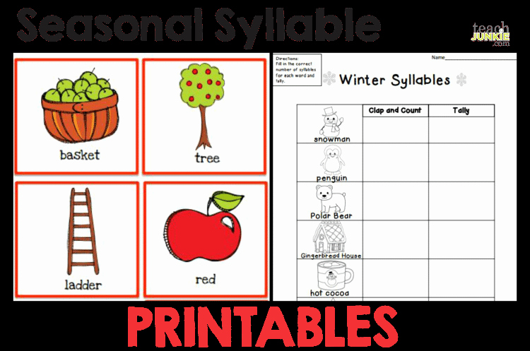 Syllables Worksheet for Kindergarten Inspirational Syllables 8 Easy to Print Activities Teach Junkie