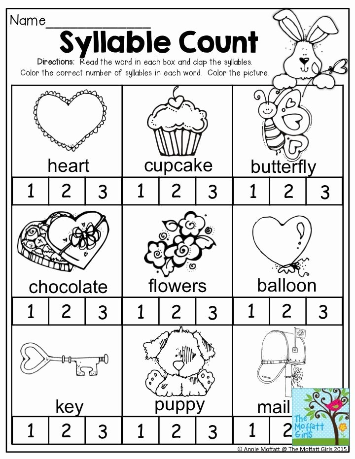 Syllables Worksheet for Kindergarten Lovely Syllable Count Clap the Syllables and Color the Correct