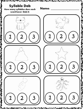 Syllables Worksheet for Kindergarten Luxury Syllable Dab Activities by Klever Kiddos