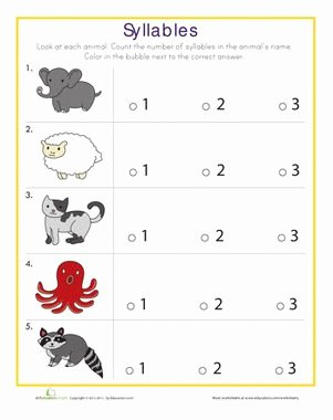 Syllables Worksheet for Kindergarten Unique Syllables Quiz Teaching My Children