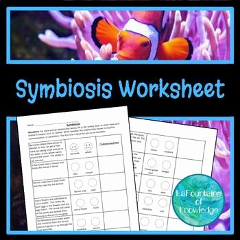 Symbiosis Worksheet Answer Key Awesome Symbiotic Relationships Worksheet by Lafountaine Of