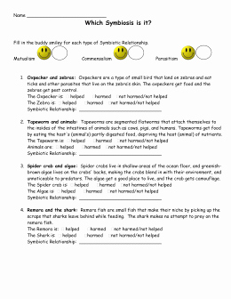 Symbiosis Worksheet Answer Key Fresh Symbiotic Relationships Worksheet—good Bud S Barnacle