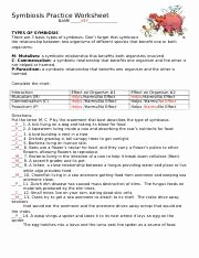 Symbiosis Worksheet Answer Key New Ecology Review Worksheet 1 Name Date Period Ecology
