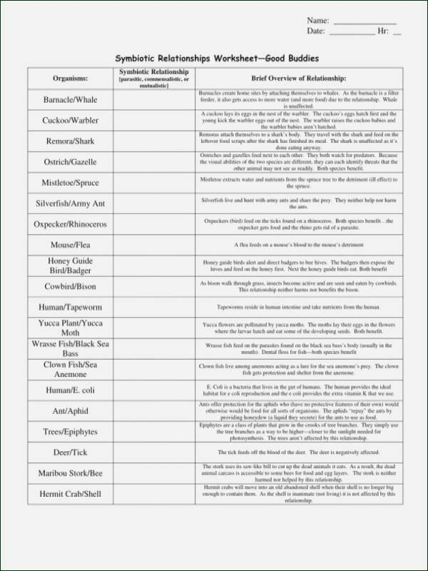 Symbiotic Relationships Worksheet Answers Best Of Symbiotic Relationships Worksheet