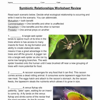 Symbiotic Relationships Worksheet Answers Best Of Symbiotic Relationships Worksheet Review Ecological