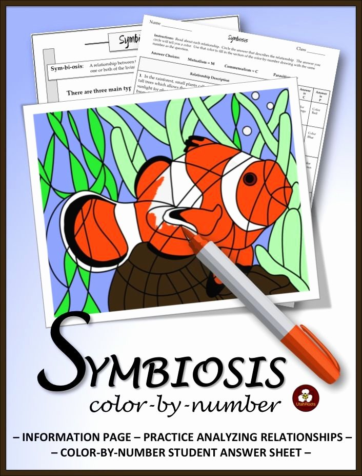 Symbiotic Relationships Worksheet Answers Elegant Symbiosis Reading Analysis and Color by Number