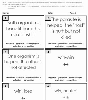 Symbiotic Relationships Worksheet Answers Fresh Printables Of Ecological Relationships Worksheet Answers