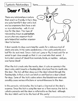 Symbiotic Relationships Worksheet Answers Lovely Mutualism Reading Prehension Worksheets by Snappy