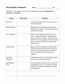 Symbiotic Relationships Worksheet Good Buddies Inspirational Symbiotic Relationships Worksheet—good Bud S Barnacle