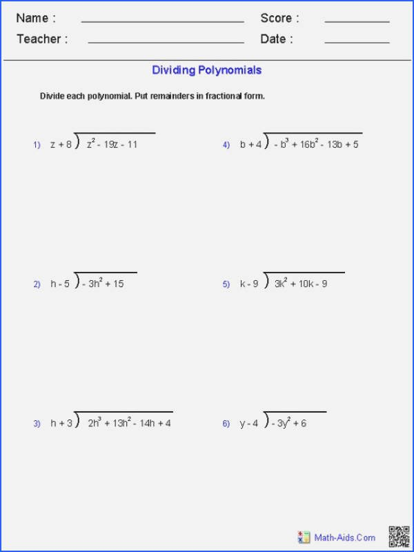 Synthetic Division Worksheet with Answers Fresh Dividing Polynomials Worksheet