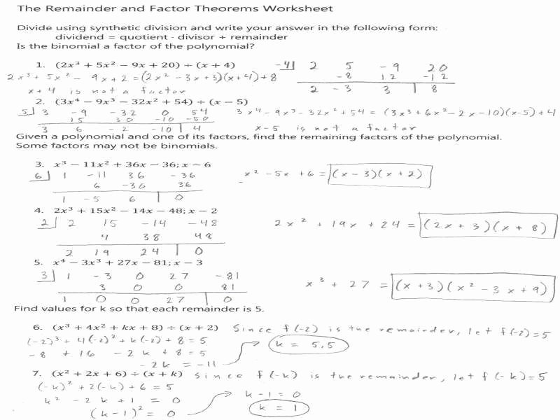 Synthetic Division Worksheet with Answers Inspirational Synthetic Division Worksheet