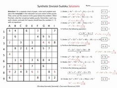 Synthetic Division Worksheet with Answers Lovely Math 3 Polynomials On Pinterest