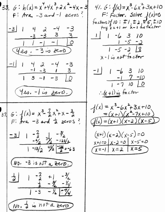 Synthetic Division Worksheet with Answers Lovely Synthetic Division Precalc Homework Problems