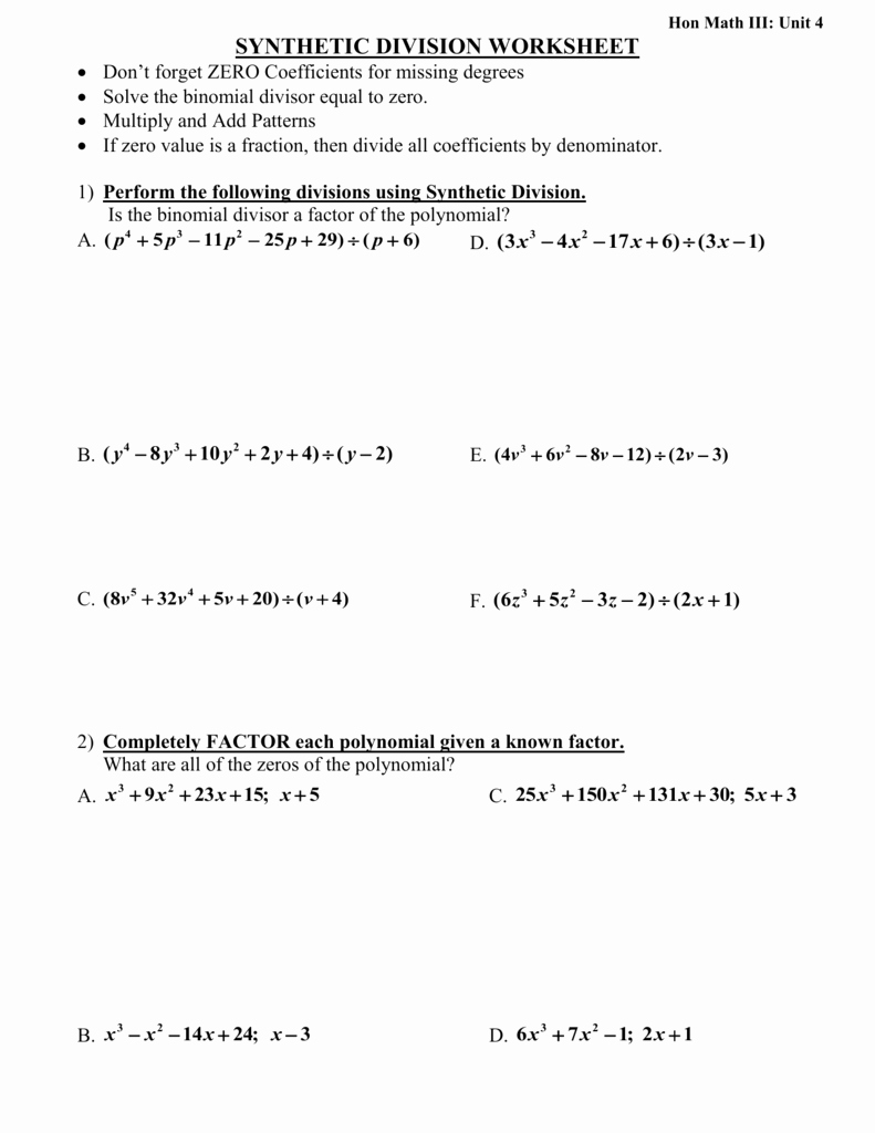 Synthetic Division Worksheet with Answers New Synthetic Division Worksheetdon