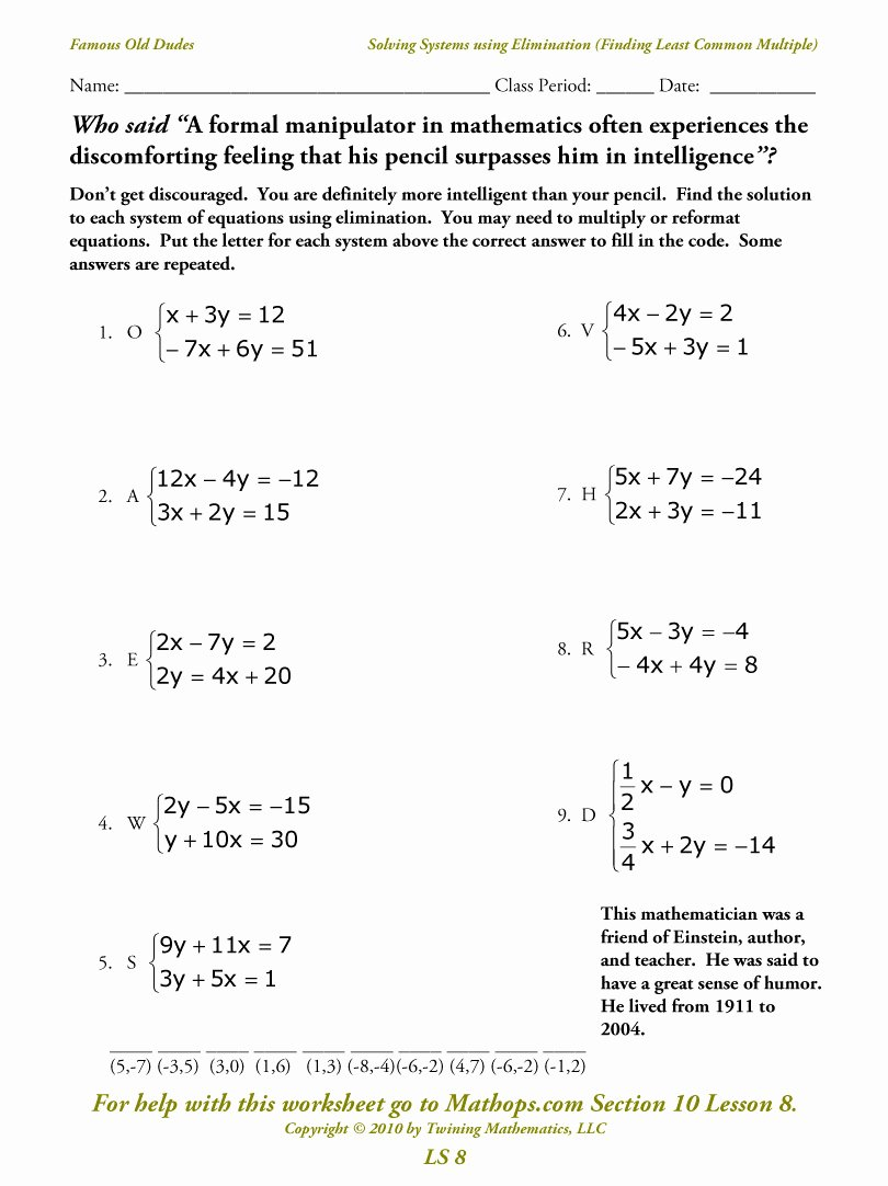 Systems Of Equations Elimination Worksheet Lovely Ls 8 solving Systems Using Elimination Finding the Least