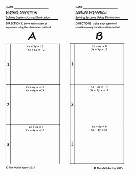 Systems Of Equations Elimination Worksheet Lovely Systems Of Equations Elimination Differentiated Partner