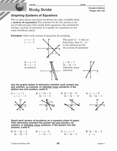 Systems Of Equations Graphing Worksheet Beautiful Graphing Systems Of Equations Worksheet for 9th Grade