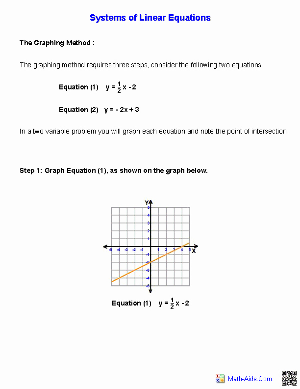 Systems Of Equations Graphing Worksheet New Pre Algebra Worksheets
