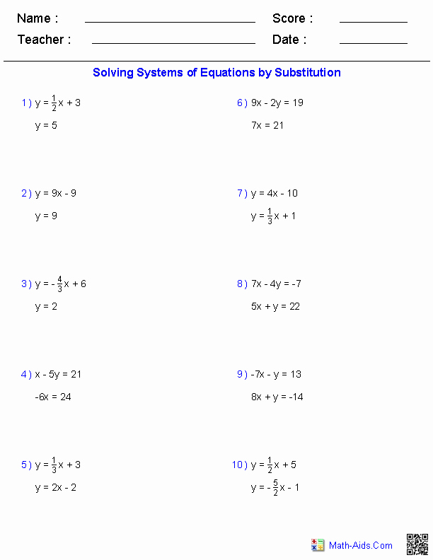 Systems Of Equations Practice Worksheet Awesome Pre Algebra Worksheets