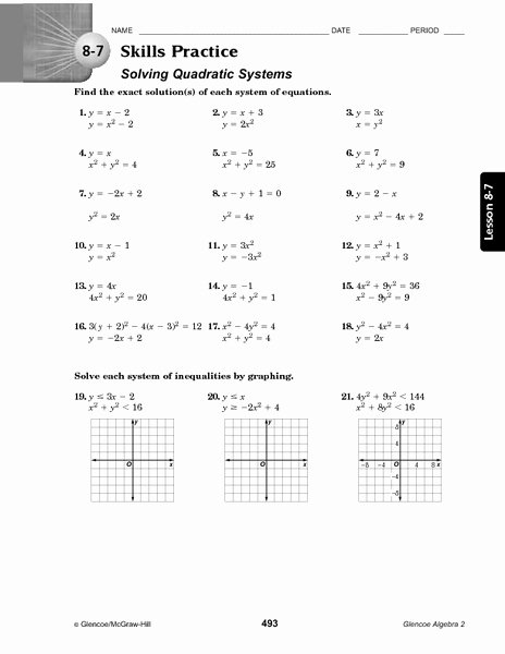 Systems Of Equations Practice Worksheet Beautiful 8 7 Skills Practice solving Quadratic Systems Worksheet