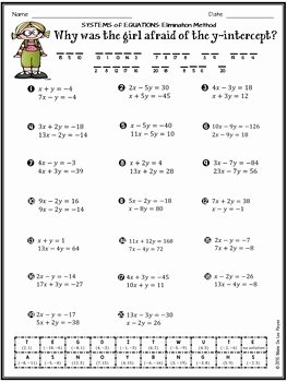 Systems Of Equations Practice Worksheet Lovely solving Systems Of Equations Using the Elimination Method
