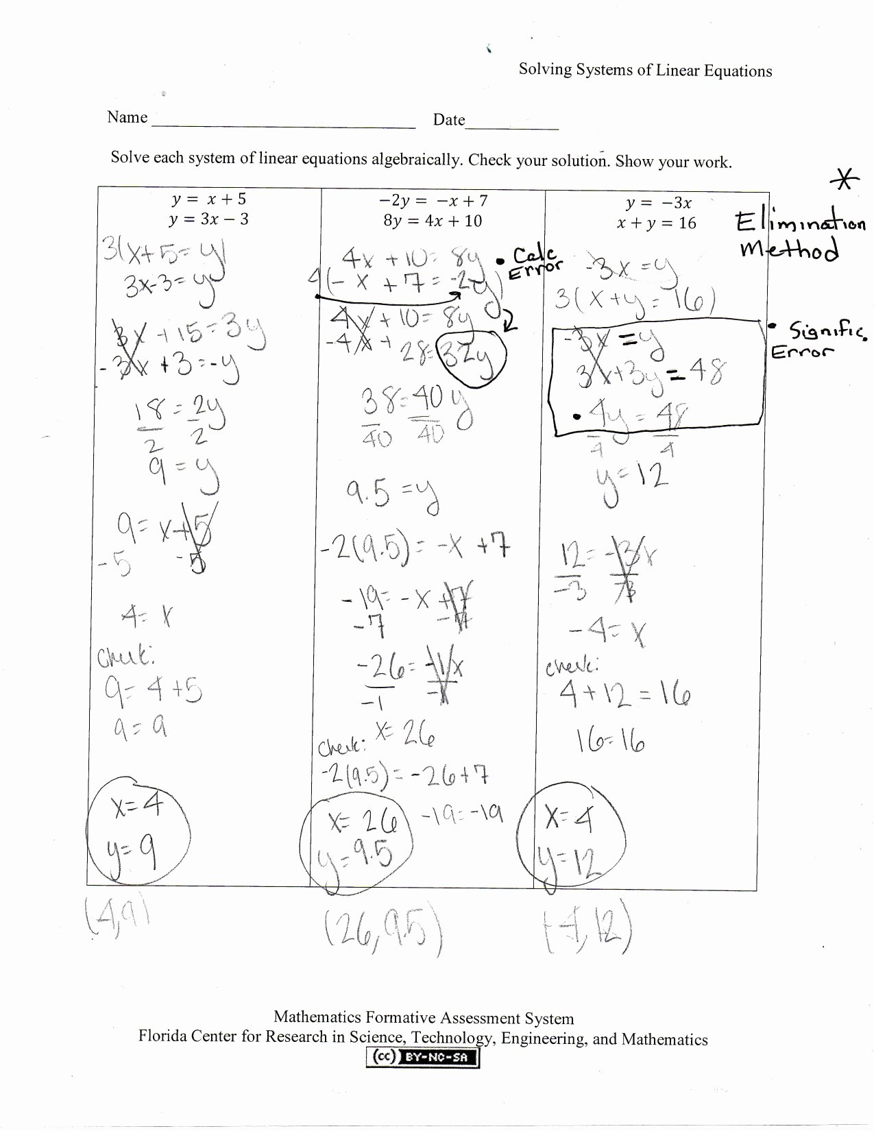 Systems Of Equations Practice Worksheet New solving Systems Of Linear Equations