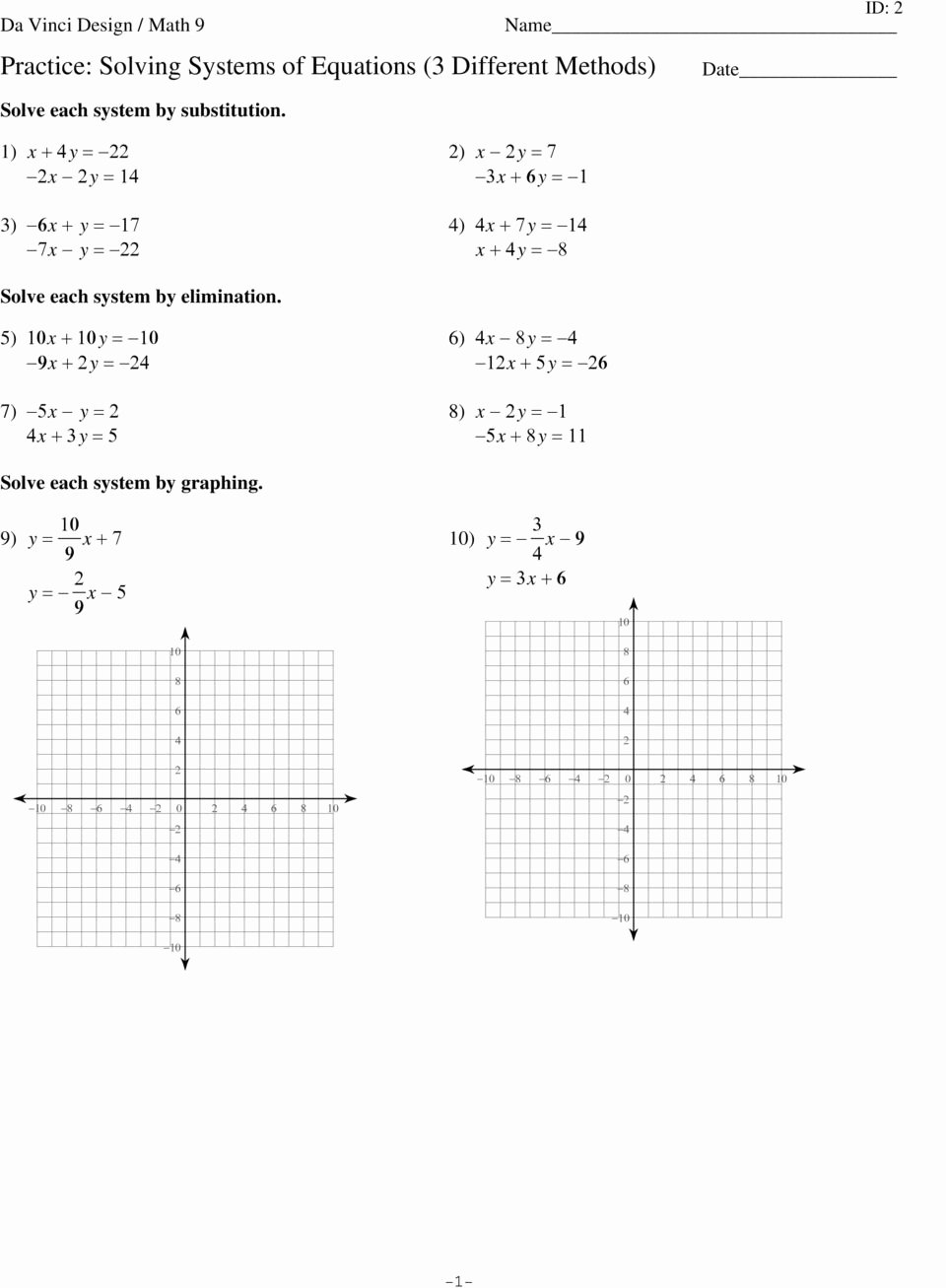 Systems Of Equations Practice Worksheet Unique Practice solving Systems Of Equations 3 Different