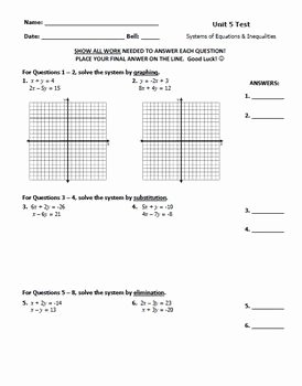 Systems Of Equations Review Worksheet Awesome Systems Of Equations & Inequalities Test Freebie Great