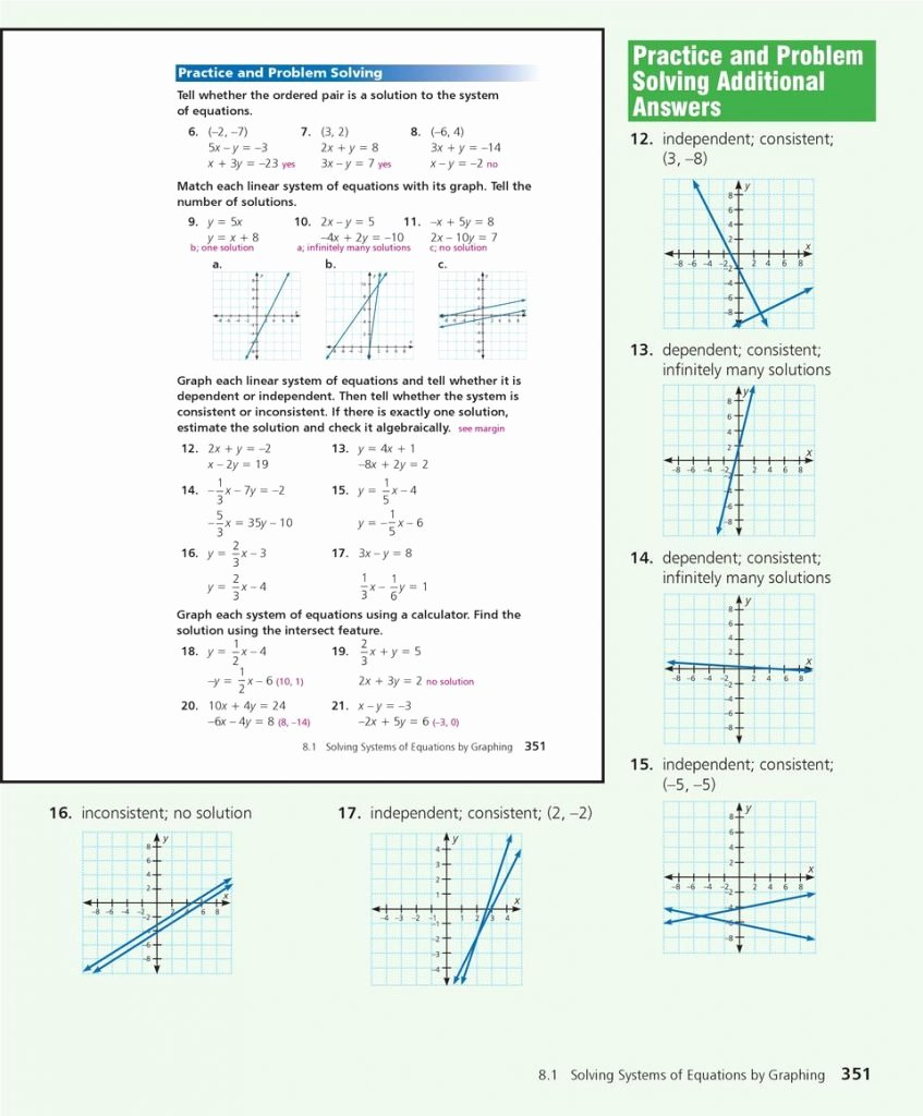 Systems Of Equations Review Worksheet Elegant solving Systems Equations by Graphing Worksheet Answer