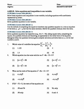 Systems Of Equations Review Worksheet Lovely Mon Core Algebra solving Equations and Inequalities