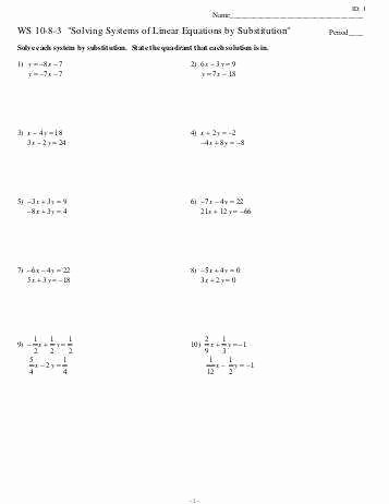 Systems Of Equations Substitution Worksheet Best Of Systems Equations Substitution Worksheet