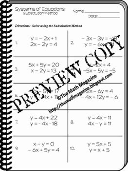 Systems Of Equations Substitution Worksheet Elegant Systems Of Equations Substitution Method Worksheet A Ced 3