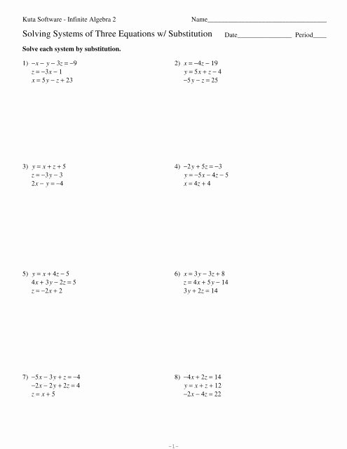 Systems Of Equations Substitution Worksheet Luxury Systems Of Three Equations Substitution Kuta software