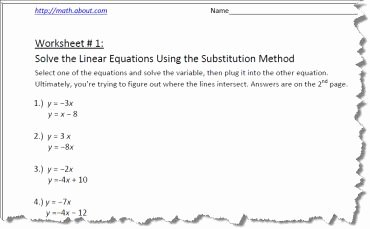 Systems Of Equations Substitution Worksheet Unique Systems Of Equations by Substitution Worksheets
