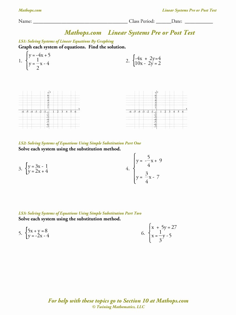 Systems Of Equations Worksheet Elegant solving Systems Linear Equations Free Worksheet