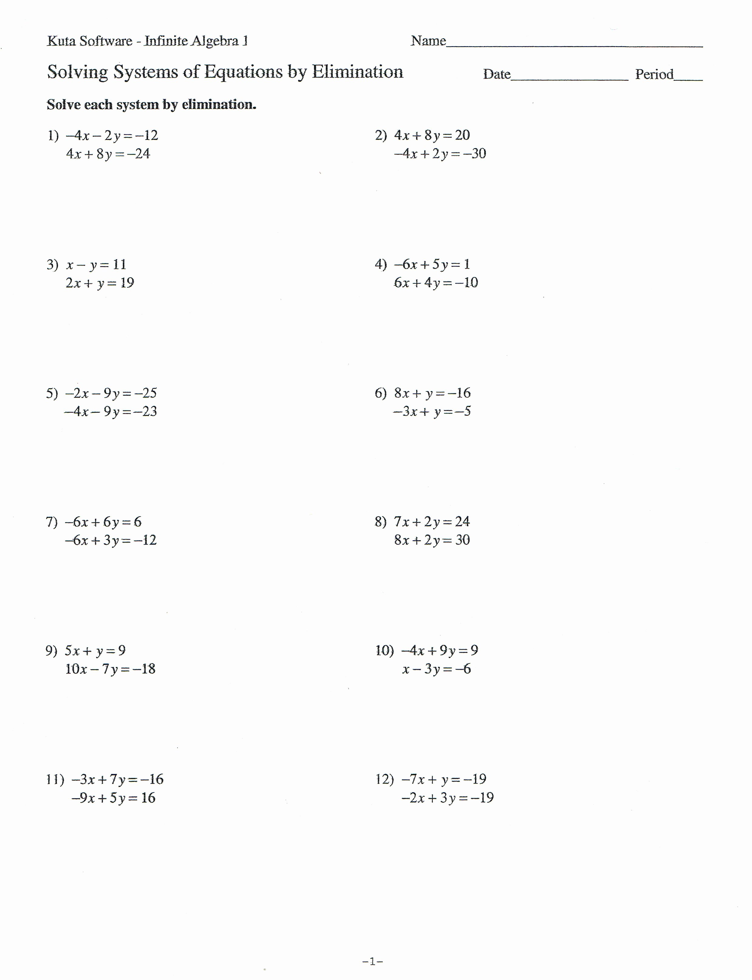 Systems Of Equations Worksheet Inspirational Algebra 1 solving Systems Equations by Elimination