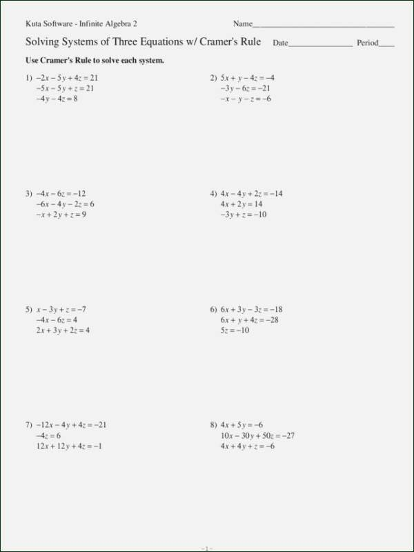 Systems Of Equations Worksheet Pdf Unique Systems Linear Equations In Three Variables Worksheet